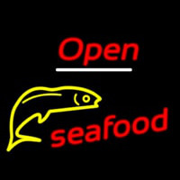 Open Seafood Logo Neon Sign