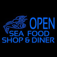 Open Seafood Shop And Diner Neon Sign