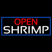 Open Shrimp With Blue Border Neon Sign