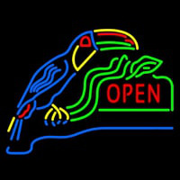 Open With Parrot Neon Sign