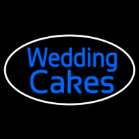 Oval Blue Wedding Cakes Cursive Neon Sign