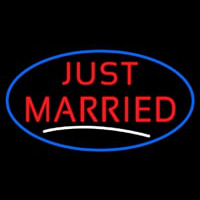 Oval Just Married Neon Sign