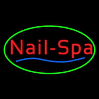 Oval Nails Spa Green Neon Sign