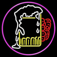 Overflowing Cold Beer Mug Oval With Pink Border Real Neon Glass Tube Neon Sign