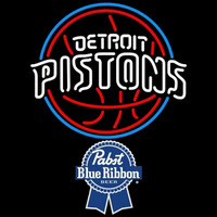 Pabst Blue Ribbon Detroit Pistons NBA Beer Sign Neon Sign