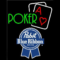 Pabst Blue Ribbon Green Poker Beer Sign Neon Sign