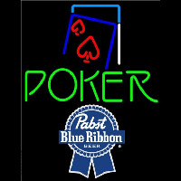 Pabst Blue Ribbon Green Poker Red Heart Beer Sign Neon Sign