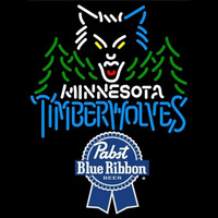 Pabst Blue Ribbon Minnesota Timberwolves NBA Beer Sign Neon Sign