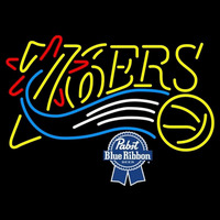 Pabst Blue Ribbon Philadelphia 76ers NBA Beer Sign Neon Sign