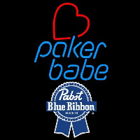 Pabst Blue Ribbon Poker Girl Heart Babe Beer Sign Neon Sign