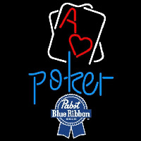 Pabst Blue Ribbon Rectangular Black Hear Ace Beer Sign Neon Sign