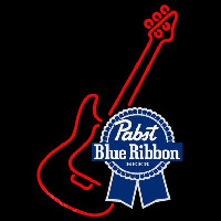 Pabst Blue Ribbon Red Guitar Beer Sign Neon Sign