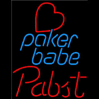 Pabst Poker Girl Heart Babe Beer Sign Neon Sign
