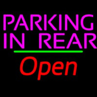 Parking In Rear Open Green Line Neon Sign