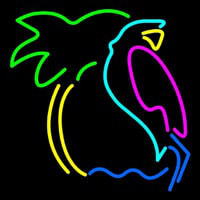 Parrot With Palm Tree Neon Sign