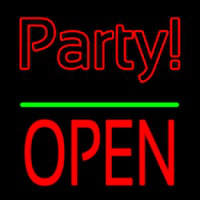 Party Open Block Green Line Neon Sign