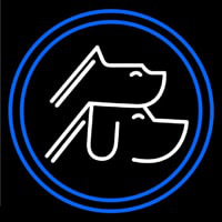 Pet And Cat Blue And White Neon Sign