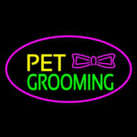 Pet Grooming Logo Oval Purple Neon Sign