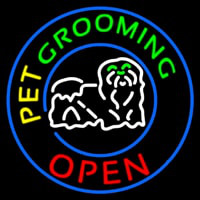 Pet Grooming Open Block Logo Neon Sign