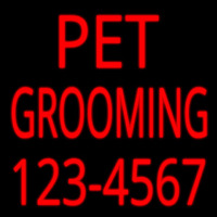 Pet Grooming With Phone Number Neon Sign