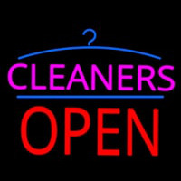 Pink Cleaners Block Red Open Logo Neon Sign