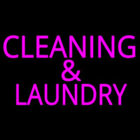 Pink Cleaning And Laundry Neon Sign