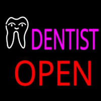 Pink Dentist Tooth Logo Block Open Neon Sign