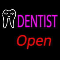 Pink Dentist White Tooth Open Neon Sign