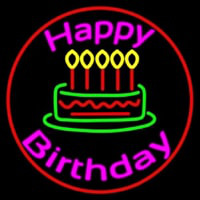 Pink Happy Birthday Neon Sign