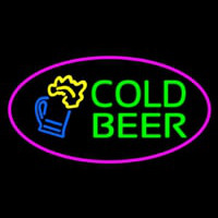 Pink Oval Cold Beer Neon Sign