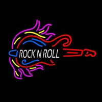 Pink Rock N Roll Guitar Block Neon Sign