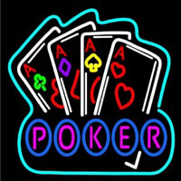 Poker Game 4 Aces Black Neon Sign