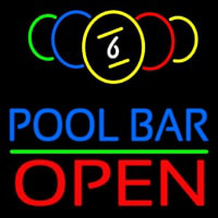 Pool Bar Open Neon Sign