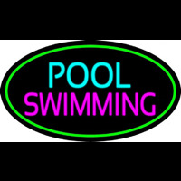 Pool Swimming With Green Border Neon Sign