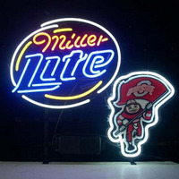 Professional Ohio State Buckeyes Brutus Miller Lite Beer Real Neon Bar Pub Sign Neon Sign
