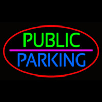 Public Parking Oval With Red Border Neon Sign