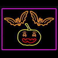 Pumpkin And Bats With Pink Border Neon Sign