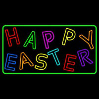Purple Happy Easter 2 Neon Sign