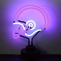 Purple and White Football Helmet Desktop Neon Sign