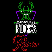 Rainier Milwaukee Bucks NBA Beer Sign Neon Sign