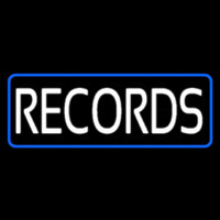 Records Block Blue Border Neon Sign