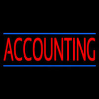 Red Accounting Blue Lines Neon Sign