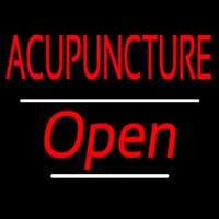 Red Acupuncture Open White Line Neon Sign