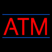 Red Atm Blue Lines Neon Sign