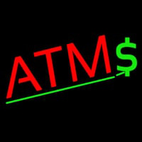 Red Atm Dollar Logo Neon Sign