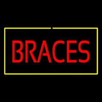 Red Braces Yellow Border Neon Sign