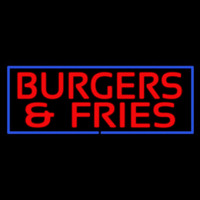 Red Burgers And Fries With Blue Border Neon Sign