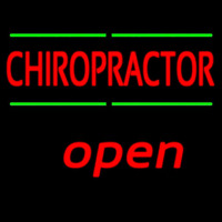 Red Chiropractor Green Lines Open Neon Sign