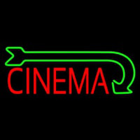 Red Cinema With Green Arrow Neon Sign