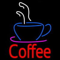 Red Coffee With Coffee Cup Neon Sign